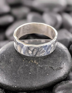 Thin hammered silver band