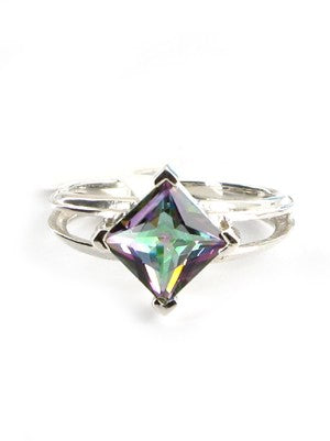 Diamond Mystic Topaz silver ring