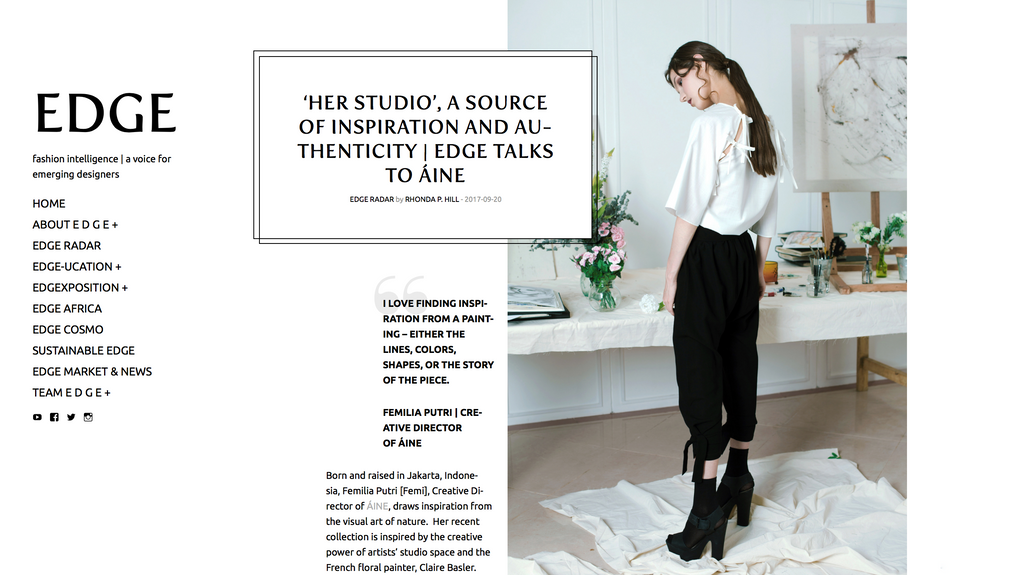 ÁINE featured in EDGE & interview with our Creative Director