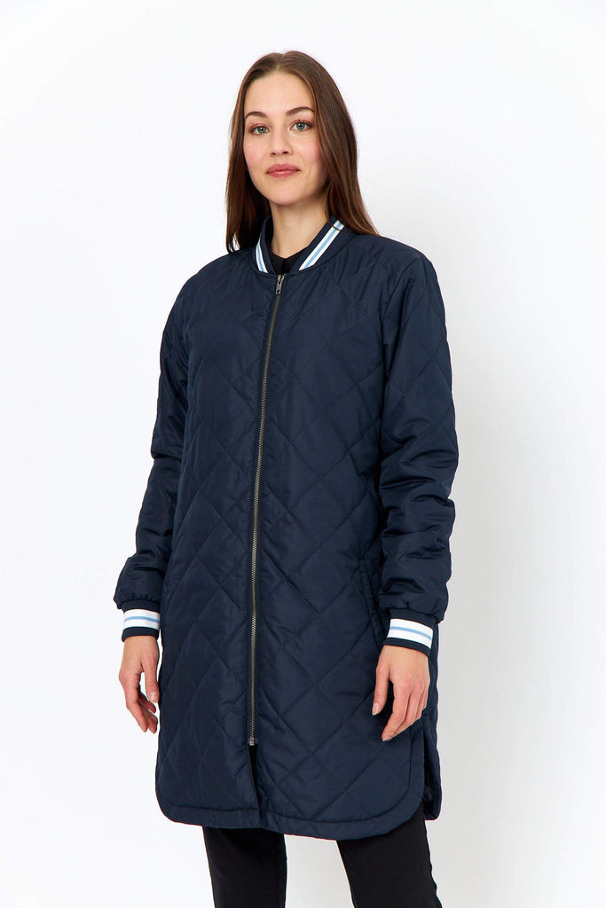 Sports stripe quilted coat