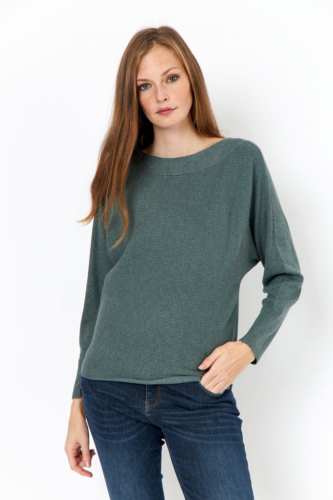 Wide Neck Ribbed Knit