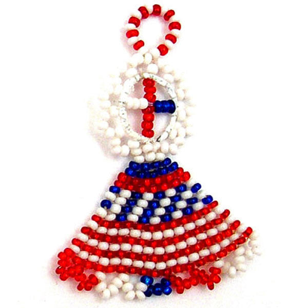 Small Beaded Angel created by Jabulile and inspired by the American flag