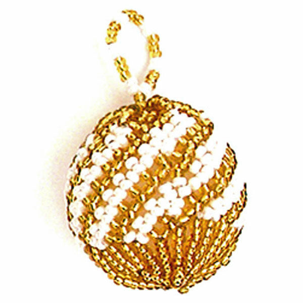 Classic beaded Christmas ball in a diagonal gold and pearl pattern from Nelly and Betty of Beaded Hope