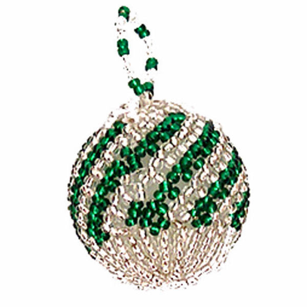 Green and Silver stripped ball-shaped Christmas ornament hand-made by Nelly & Betty