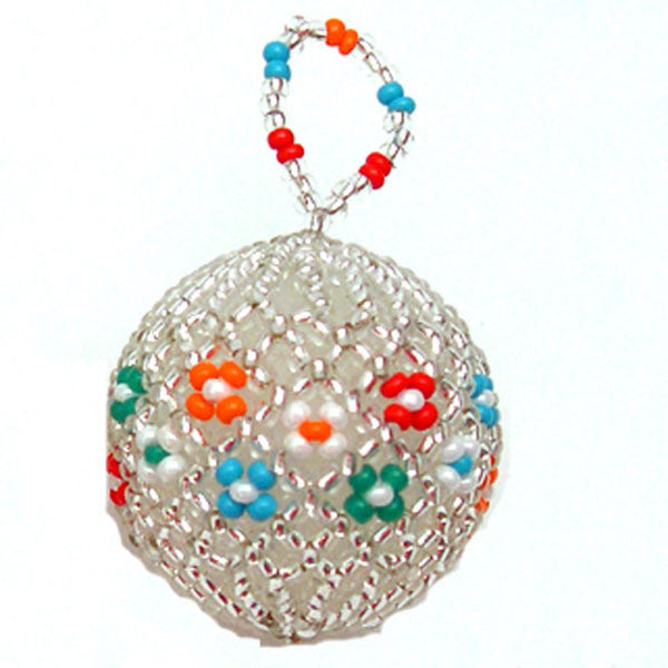 A lovely silver beaded Christmas ball ornament with traditional accents of turquoise, white, red, orange and green