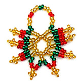 Beaded Star Christmas Ornament in red & green with gold accents made by Nelly & Betty