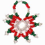 Beaded Star Christmas Ornament in red & green with silver accents made by Nelly & Betty