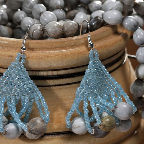 Tassel Earrings in Light Blue