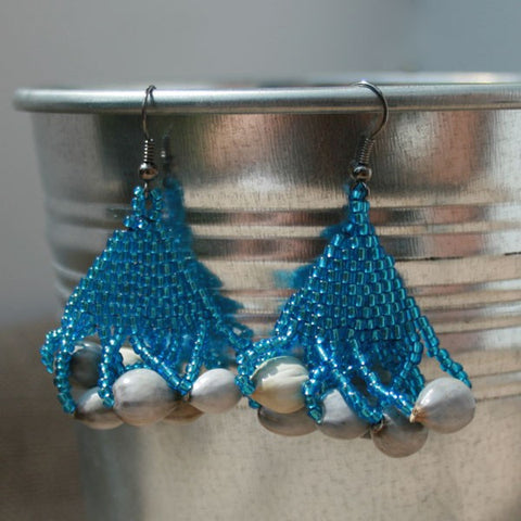 Tassel Earrings in Pacific Blue