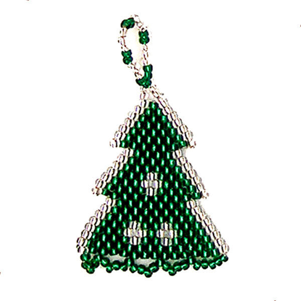 Green and Silver tree-shaped Christmas ornament hand-made by Nelly & Betty