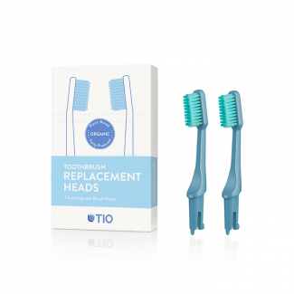 Tio replaceable brush heads in glacier blue. Pack of 2 medium heads