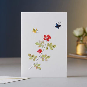 Rose & Butterflies Greeting Card