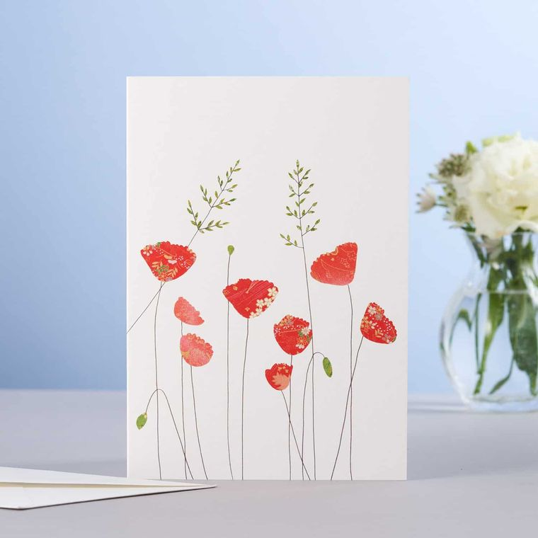 Poppies & Grass Greeting Card