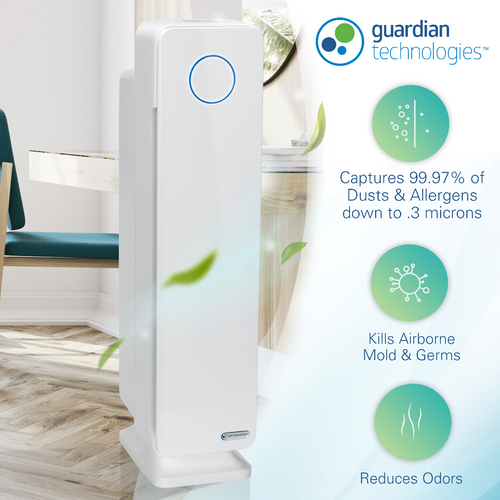 GermGuardian RAC5350W Refurbished Elite 4-in-1 Air Purifier with HEPA Filter, UVC Sanitizer and Odor Reduction, 28-Inch Digital Tower