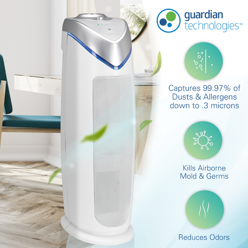 GermGuardian AC4825 4-in-1 Air Purifier with HEPA Filter, UVC Sanitizer and Odor Reduction, 22-Inch Tower