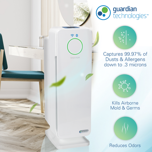 GermGuardian CDAP4500 WiFi Smart 4-in-1 Air Purifier with HEPA Filter, UVC Sanitizer and Odor Reduction, 22-Inch Tower