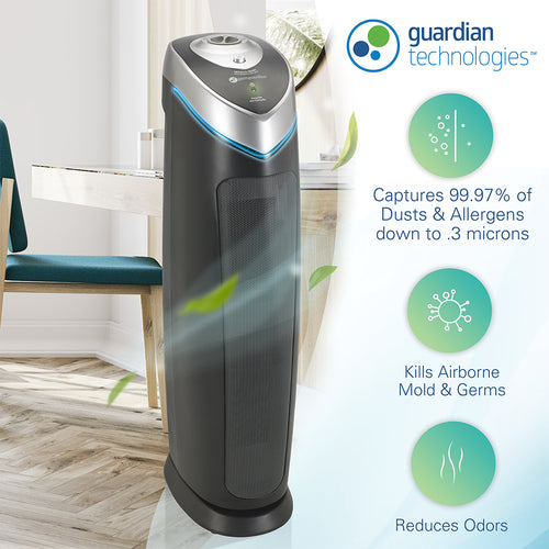 GermGuardian AC5000E 4-in-1 Air Purifier with HEPA Filter, UVC Sanitizer and Odor Reduction, 28-Inch Tower