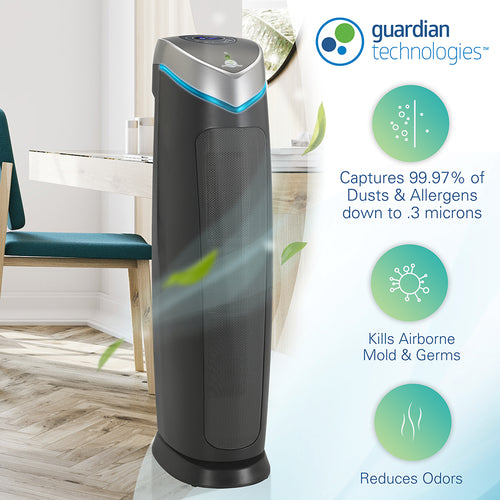 GermGuardian AC5250PT 5-in-1 Air Purifier with Pet Pure HEPA Filter, UVC Sanitizer and Odor Reduction, 28-Inch Digital Tower