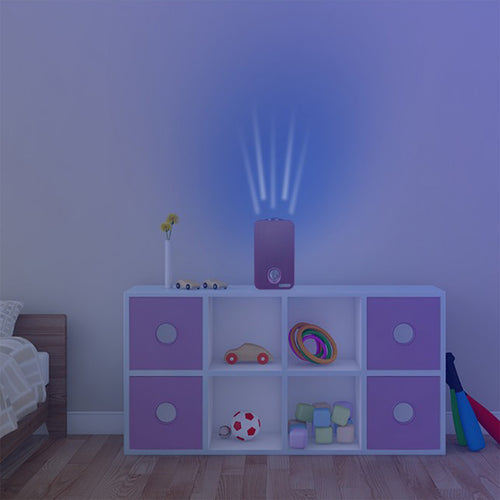 GermGuardian Night-Projecting Pink AC4150 on Child Bedroom Table