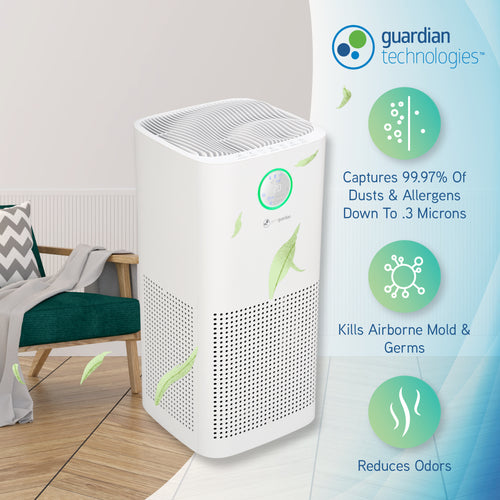"GermGuardian AC5109W 6-in-1 Air Purifier, 23"" Air Purifier with HEPA Filter, UV-C, Odor Reduction and Air Quality Monitor, Large Room"