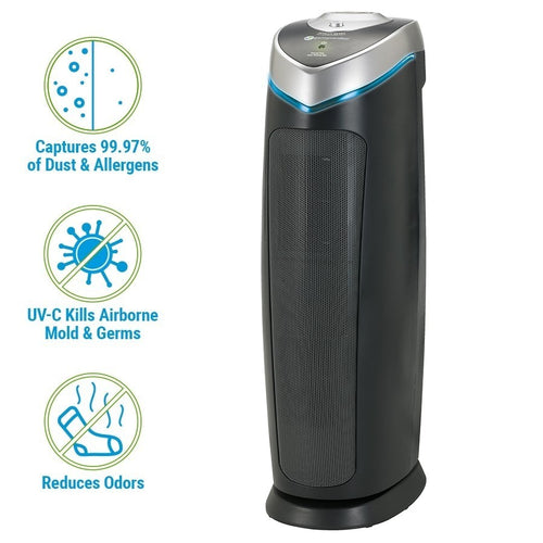 GermGuardian AC4825DLX 4-in-1 Air Purifier with HEPA Filter, UVC Sanitizer and Odor Reduction, 22-Inch Tower