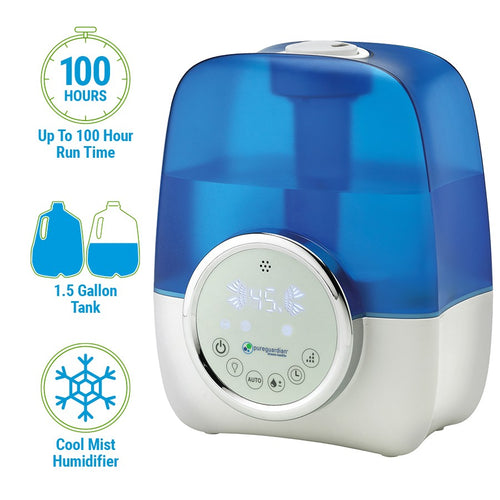 H1250 1.5-Gallon Ultrasonic Ultrasonic Cool Mist Humidifier with Digital Smart Mist Sensor by PureGuardian
