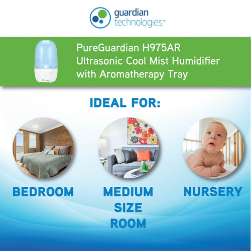 PureGuardian H975AR 1-Gallon Cool Mist Humidifier 320 sq. ft.