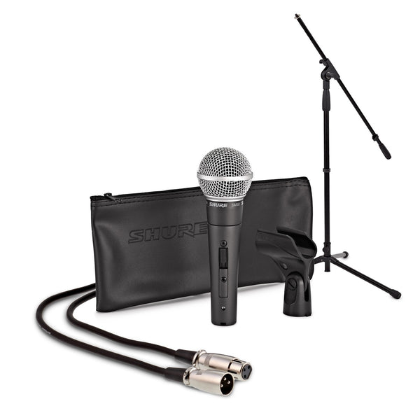 SHURE SM58-S Microphone Bundle with MIC Boom Stand and XLR Cable