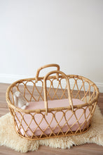Load image into Gallery viewer, detail of fitted bassinet sheet in rose