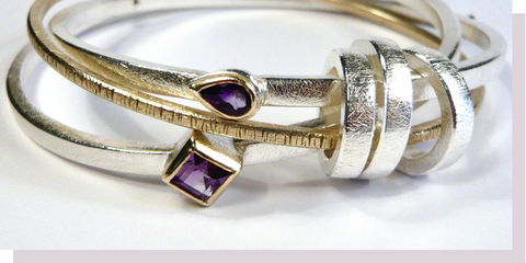 Victoria's Amethyst Remodelled Silver & Gold Bangle | Sarah McAleer Jewellerysmith