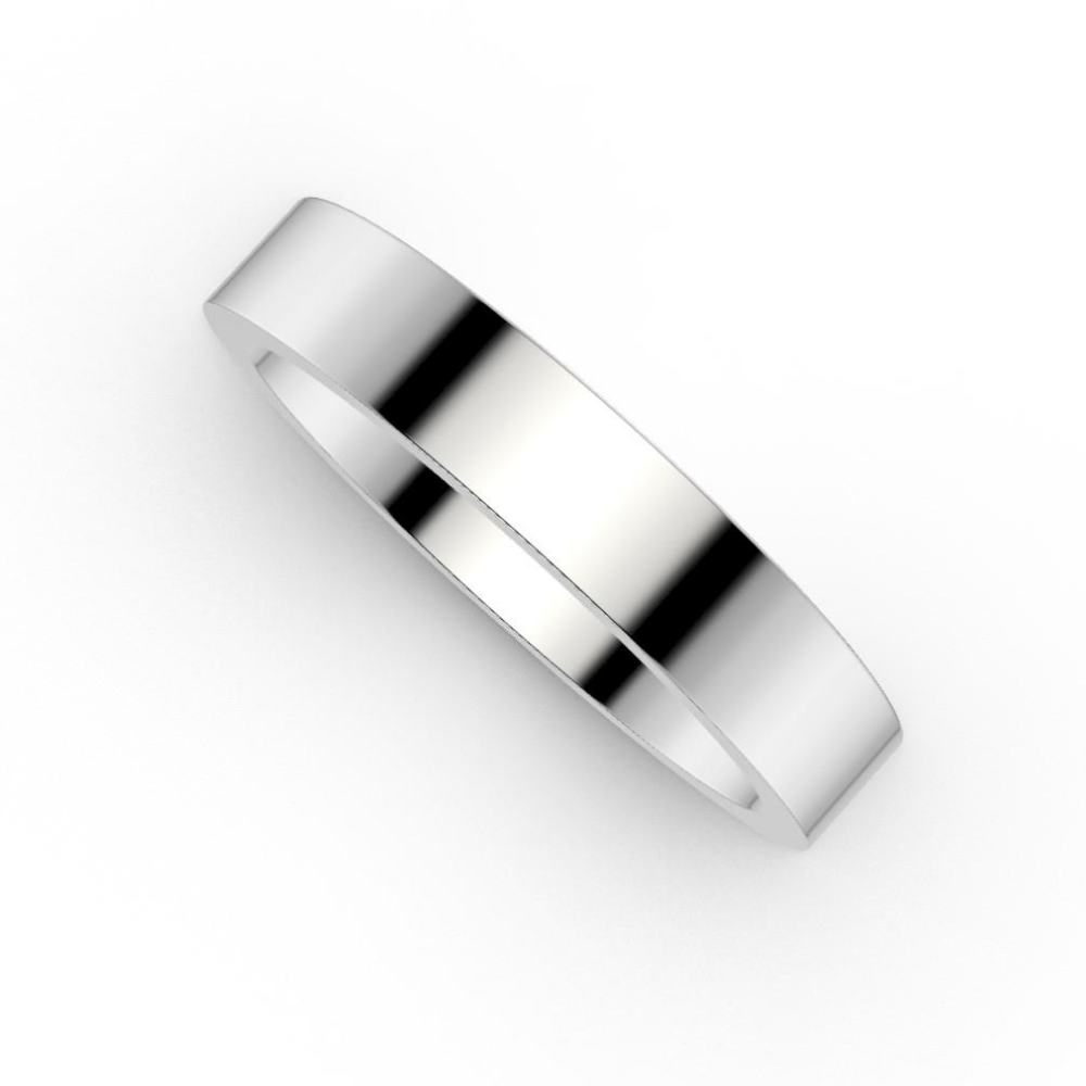 White Gold Wedding Band | Flat Band 4.2mm Wide