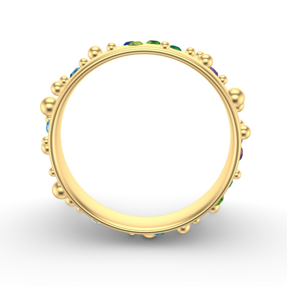 Yellow Gold Wedding Ring | Bubbles Design With Flush Set Rainbow Stones