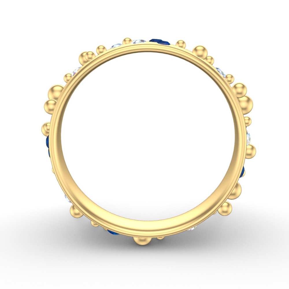 Yellow Gold Wedding Ring | Bubbles Design With Flush Set Sapphires & Diamonds