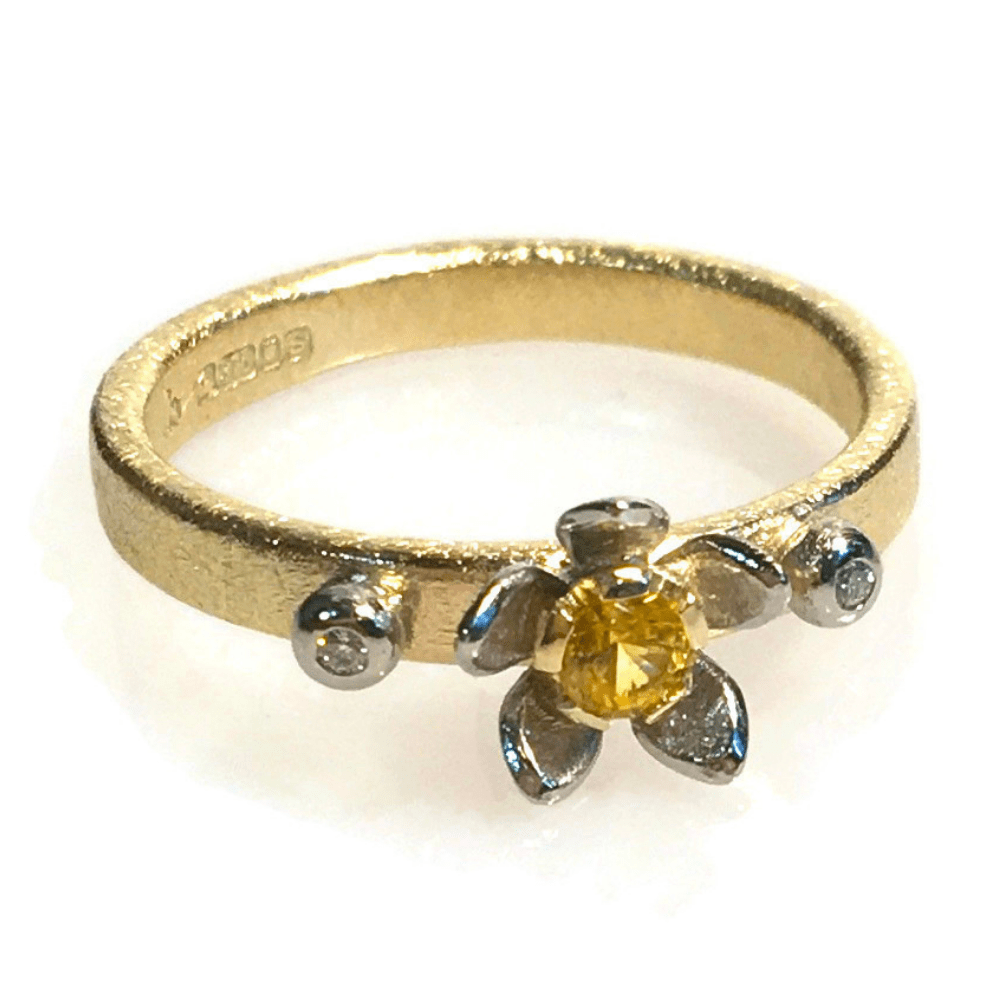 Flower Stacker Ring | 9ct Yellow Gold & Palladium With Yellow Sapphire And Diamonds
