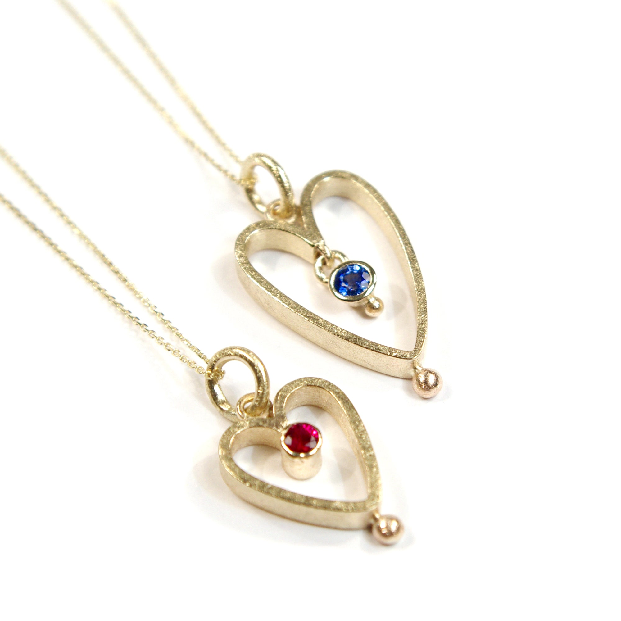 Gold Heart Bobble Pendant: 9ct Yellow, Large Heart, Sapphire