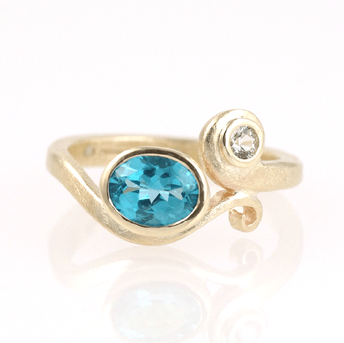 Curl Ring: 9ct Yellow Gold With Aqua Apatite & White Sapphire