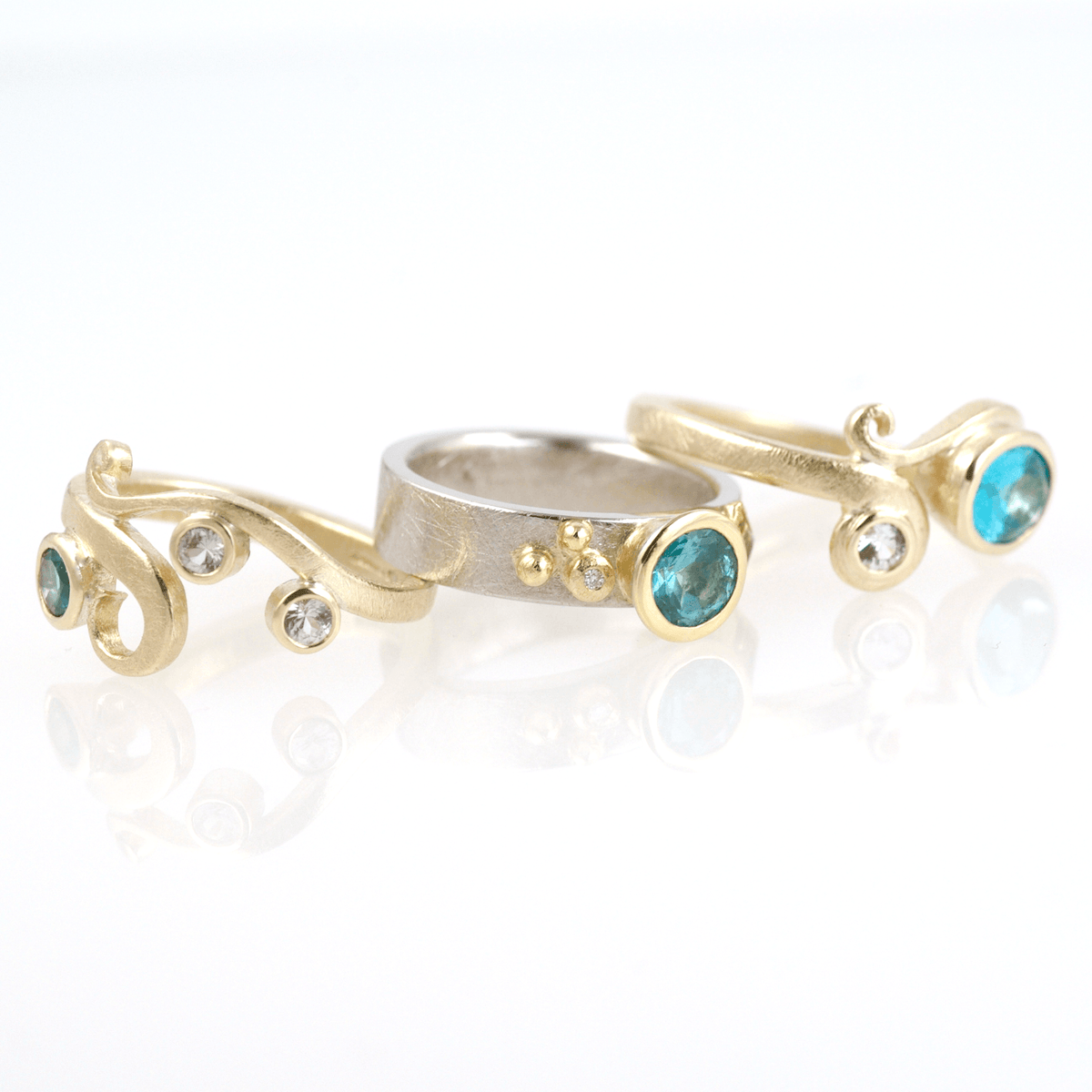 Classic Curl Ring: 9ct Yellow Gold, Blue Topaz, White Sapphires