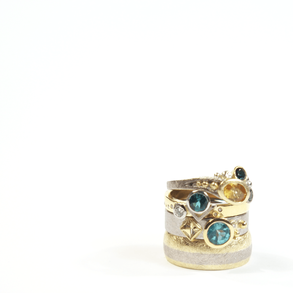 Sea Shore Shaped Stacker Ring | Yellow Or White Gold 6mm Wide Flat Band | Set With Blue Topaz, Yellow Sapphire & Diamond