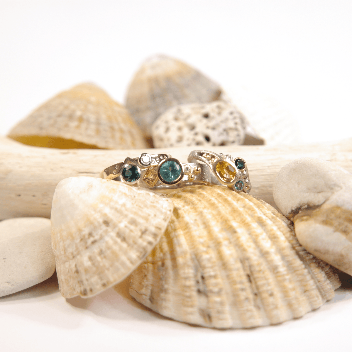Sea Shore Shaped Stacker Ring | Yellow & White Gold with Diamonds & Tourmaline