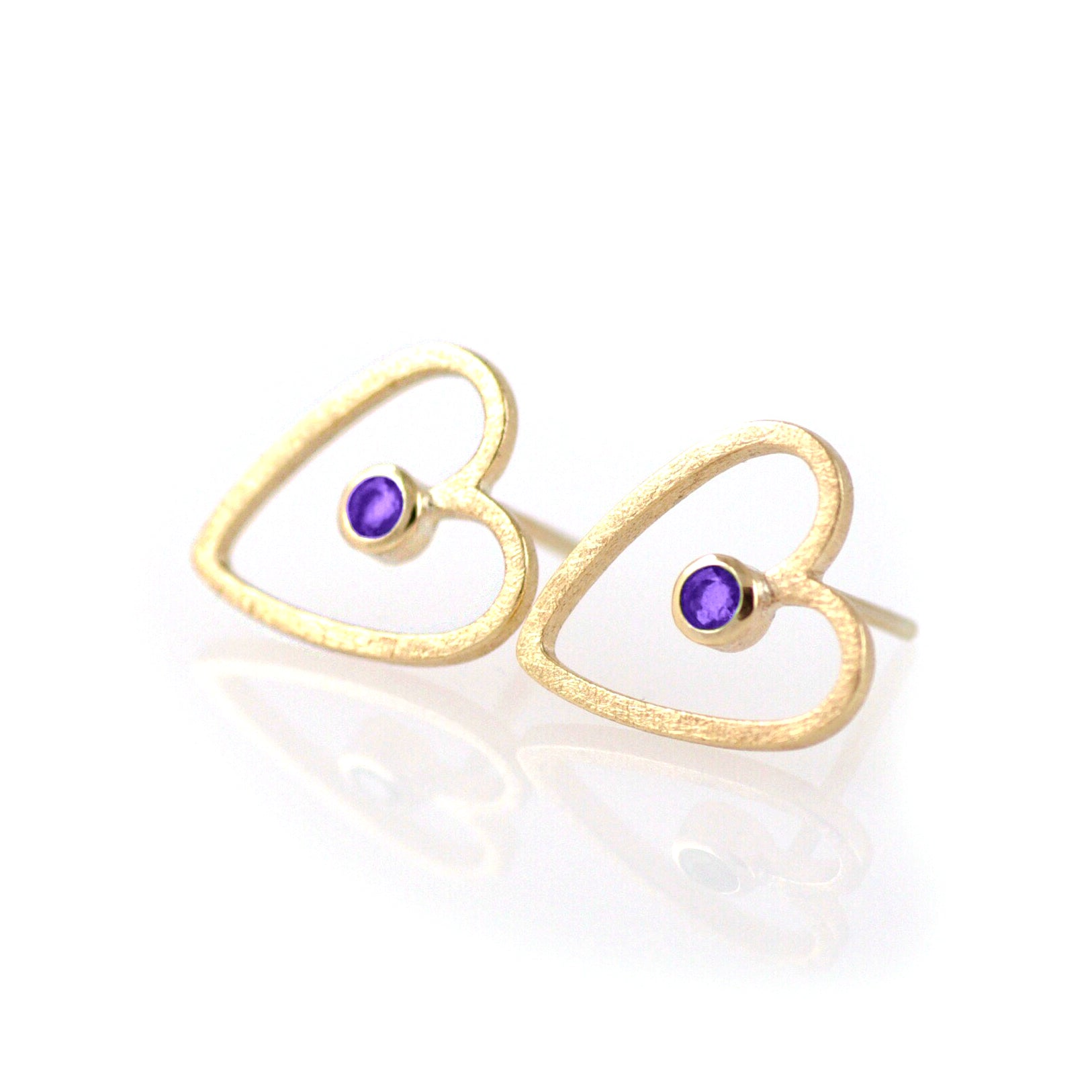 Gold Heart Stud Earrings: 9ct Yellow, Small Hearts, Tanzanite