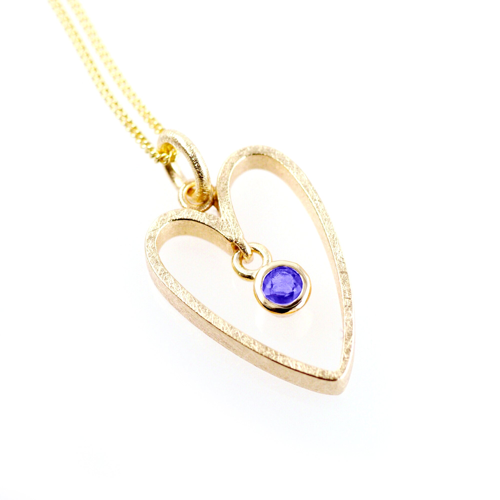 Gold Heart Pendant: 9ct Yellow, Large Heart, Tanzanite