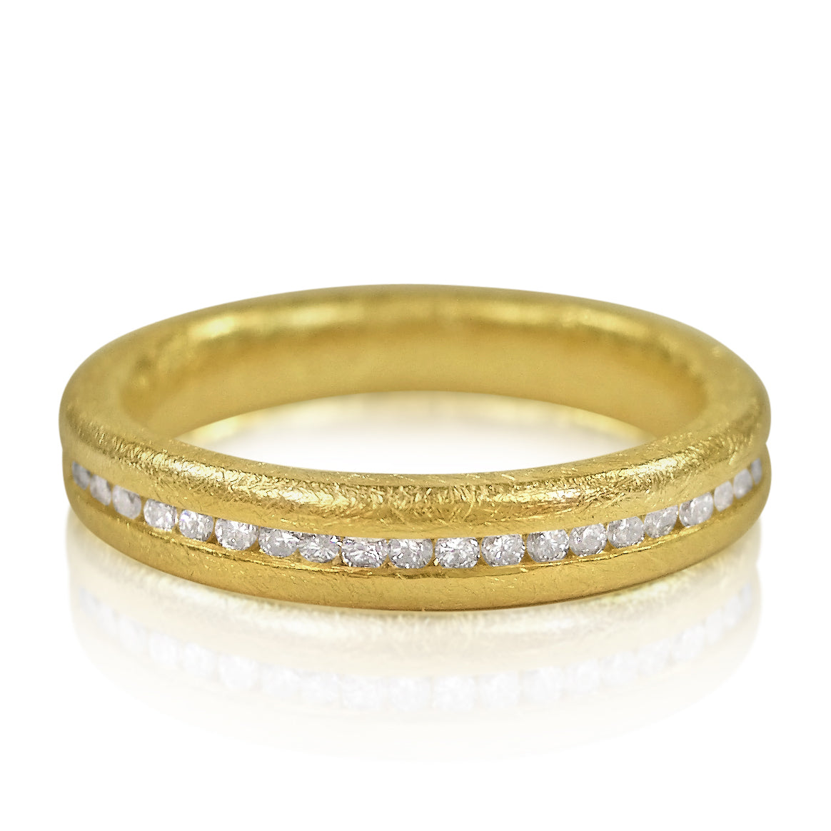 Shaped Wedding Ring: 18ct Yellow Gold & Diamonds