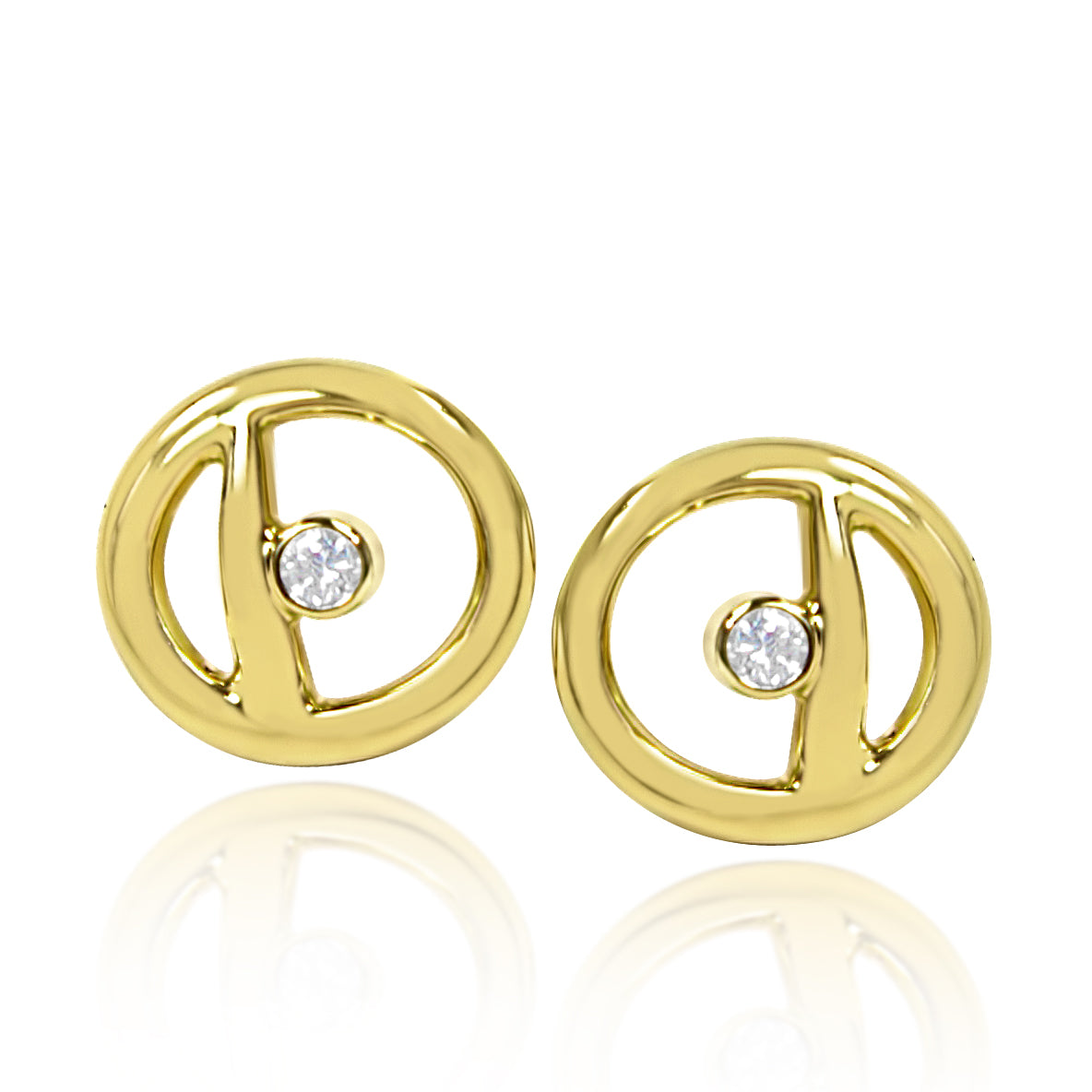 Curve Frame Earrings: 18ct Yellow Gold & Diamonds