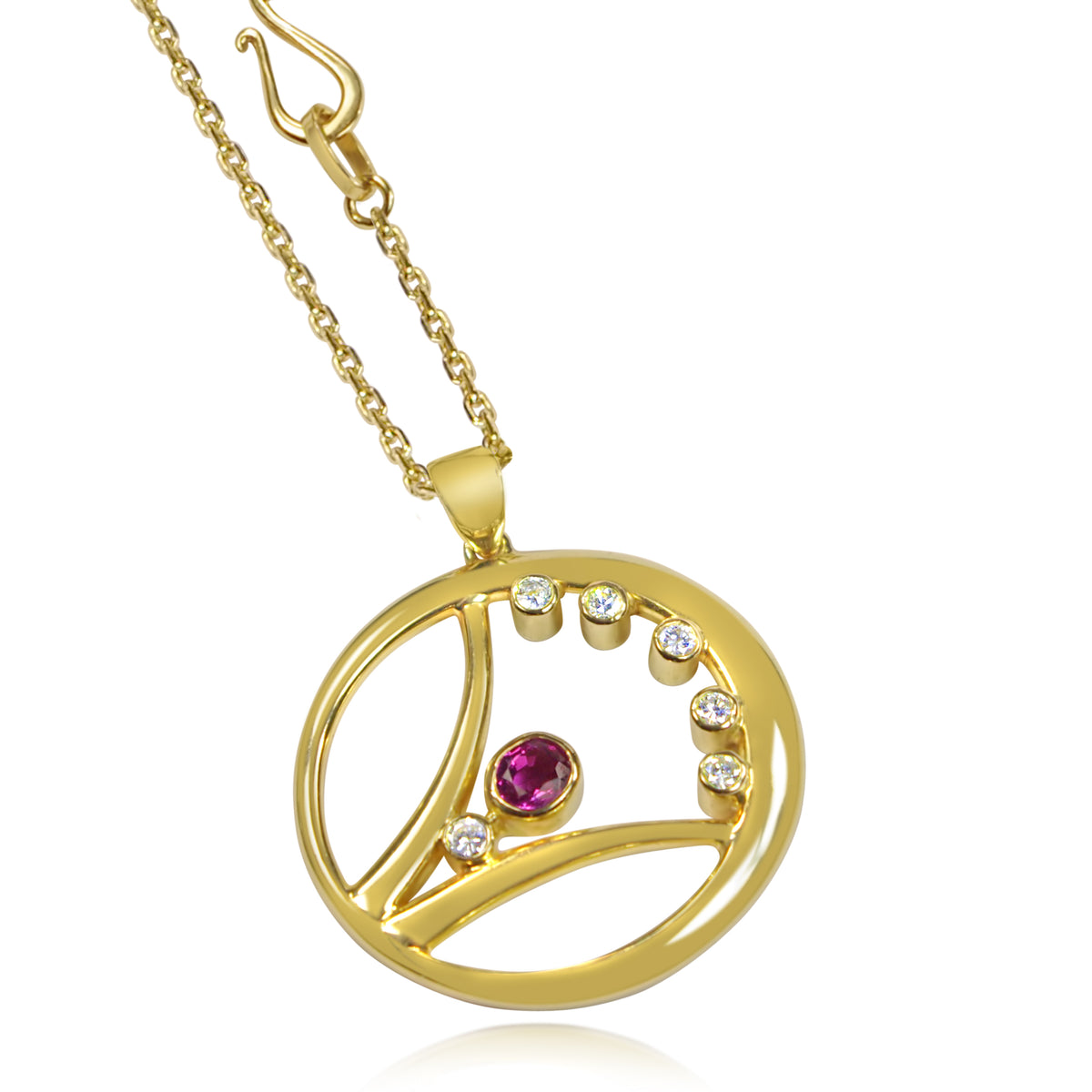 Curve Frame Pendant: 18ct Yellow Gold, Oval Ruby & Diamonds