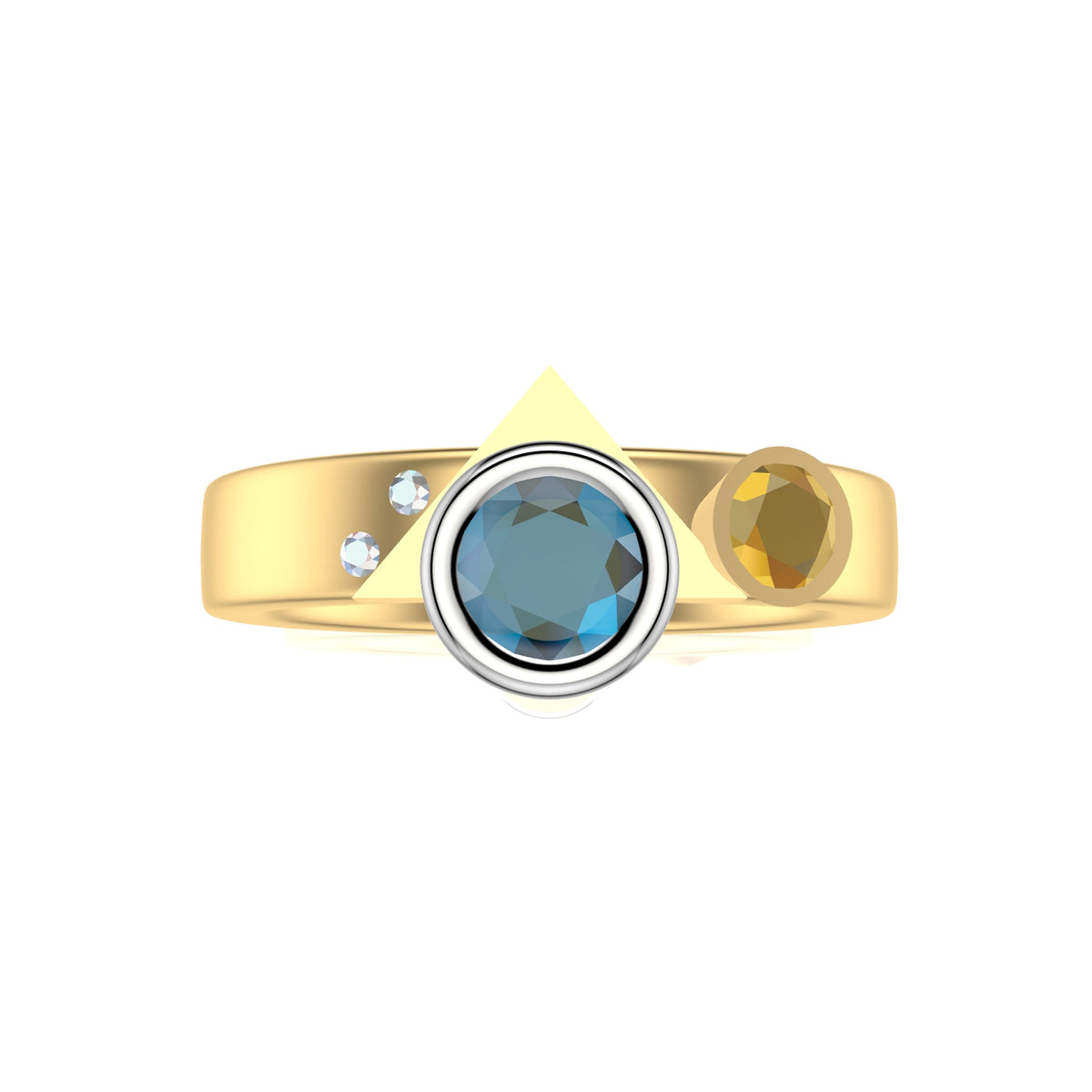 Sea Shore Shaped Stacker Ring | 9ct Yellow And White Gold 4mm Wide Flat Band | With Blue Zircon And Diamond, Tanzanite Or Yellow Sapphire Accent Stone
