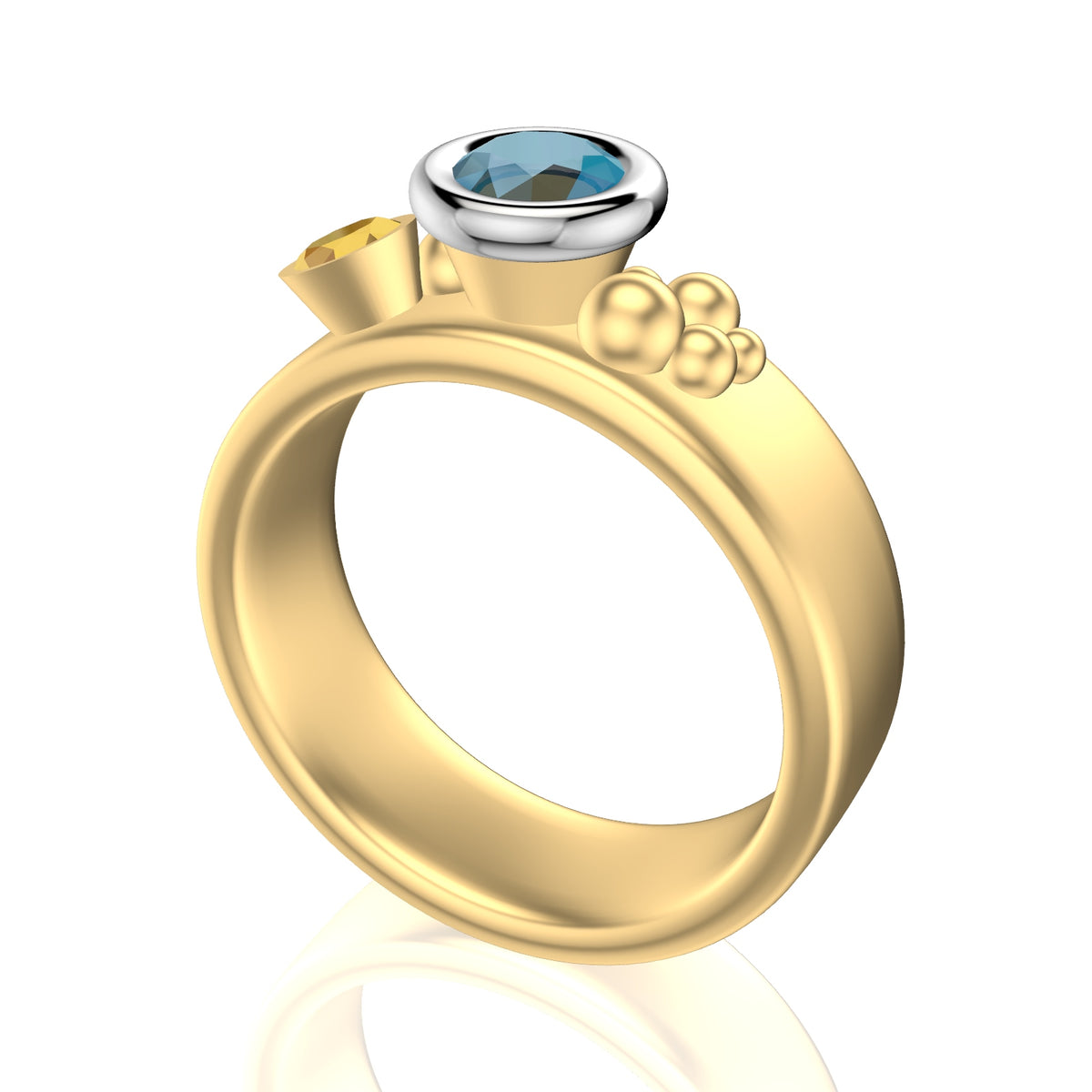 Sea Shore Shaped Stacker Ring | Yellow And White Gold 6mm Wide Flat Band | With A Blue Zircon, Tanzanite Or Yellow Sapphire Accent Stone And Little Diamonds