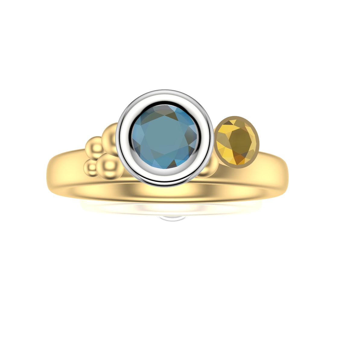Sea Shore Shaped Stacker Ring | Yellow And White Gold 3mm Wide Oval Band | With A Blue Zircon, Tanzanite Or Yellow Sapphire And Diamonds