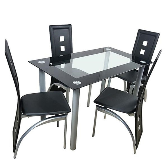 Minimalist Morden Style Dining Table Set - Tempered Glass Dining Table with 4pcs Chairs