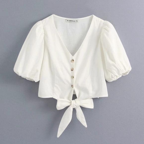 V-Neck Hem White Top