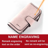 Name Engrave Fashion Long Leather Wallet (For Women)